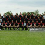 LONDON - SEPTEMBER 1:  The Saracens squad pictured during the Saracens rugby union photocall on September 1, 2003 at Bramley Road Ground in Southgate, London. (Photo by David Rogers/Getty Images)