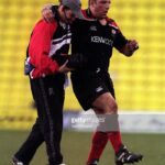 15 Apr 2001:  Julian White of Saracens leaves the field with an injury during the Zurich Premiership match between Saracens and Newcastle Falcons played at Vicarage Road, London. Mandatory Credit: Dave Rogers/ALLSPORT