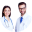 man and woman doctors smiling