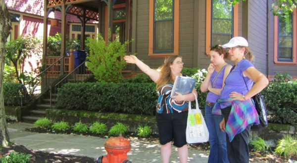Tanya March recently guided Catherine and Deb from the NW Portland International Hostel on the Historic Homes Tour.