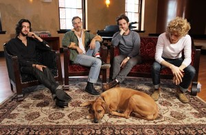 Dawes in Ashevile with Femi the studio dog