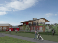 An architectural rendering of the proposed Jetti Rae's Seafood and Such restaurant being proposed for 144 Riverside Drive in the Asheville River Arts District.