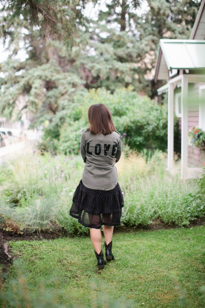 Jackson Hole Blogger wearing Love army jacket