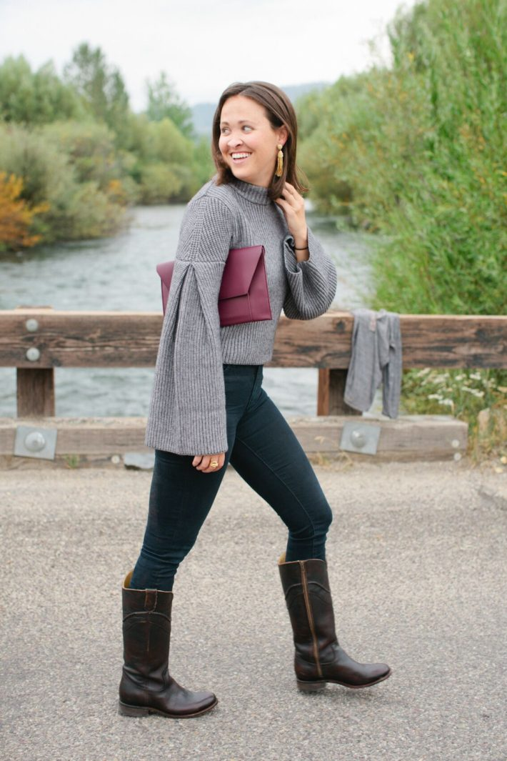Jackson Hole style blogger Meagan wears bell sleeve sweater from local boutique Nest