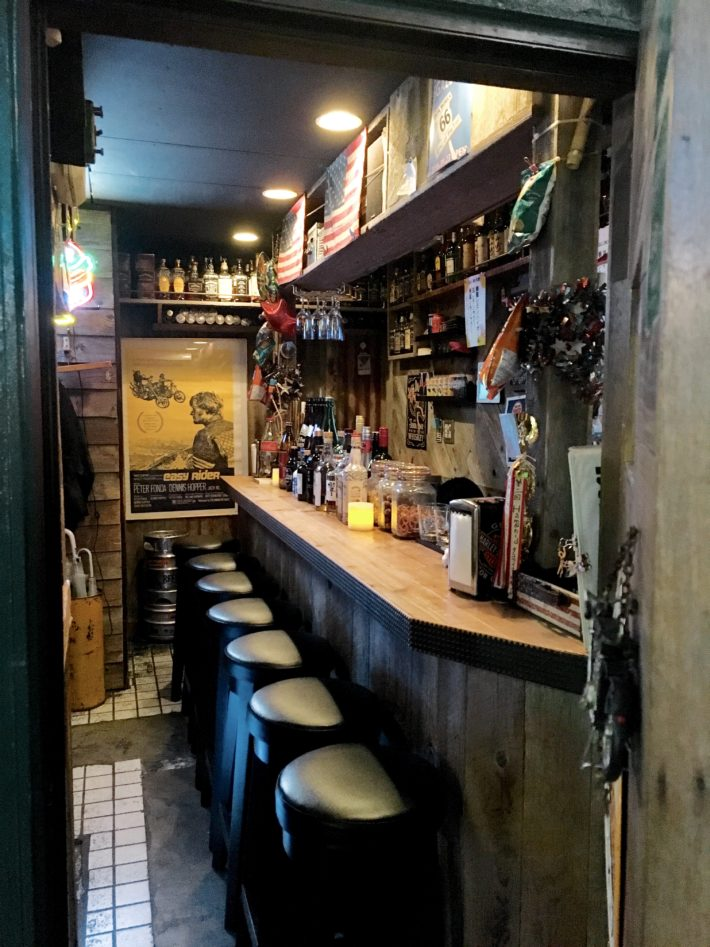 A teeny tiny bar that holds less than 10 people in Golden Gai of Tokyo, Japan