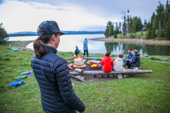 Camping in Grand Teton National Park on Elk Island with Jackson Hole blogger birthday cake
