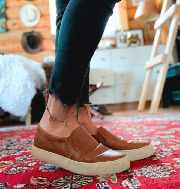 frye leather lena slip on