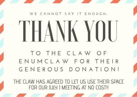 Thank You to The Claw Of Enumclaw for the use of your venue!