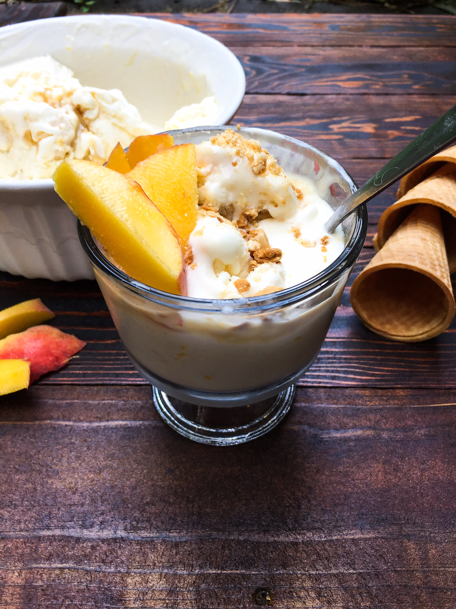 no churn peach and caramel ice cream