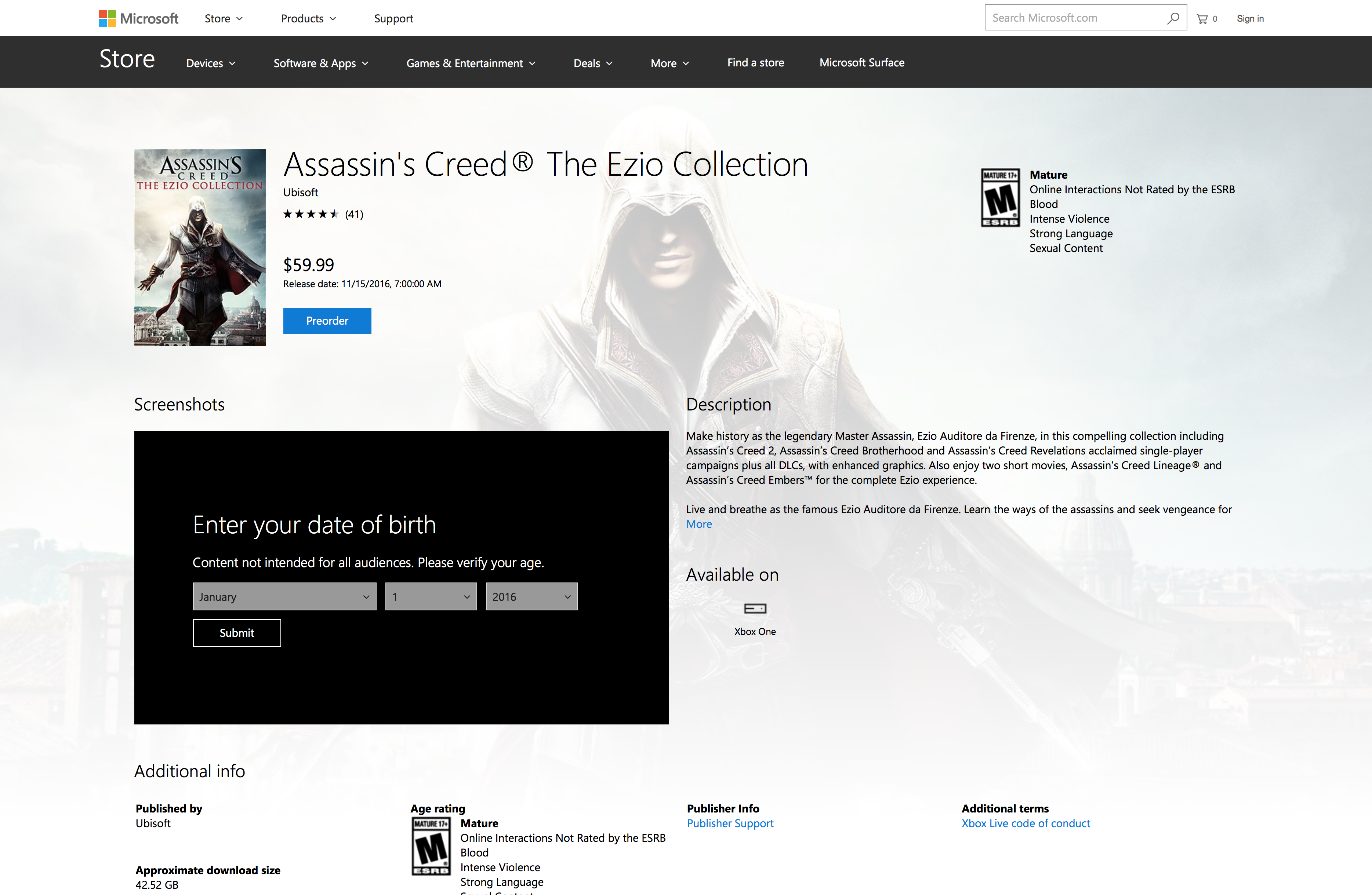 The Codex – The Ezio Collection – Game File Size Revealed