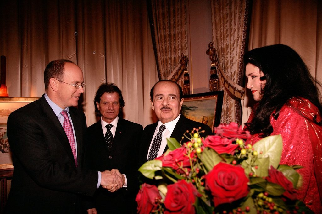 Adnan Khashoggi with Albert II Prince of Monaco, and Lamia Khashoggi