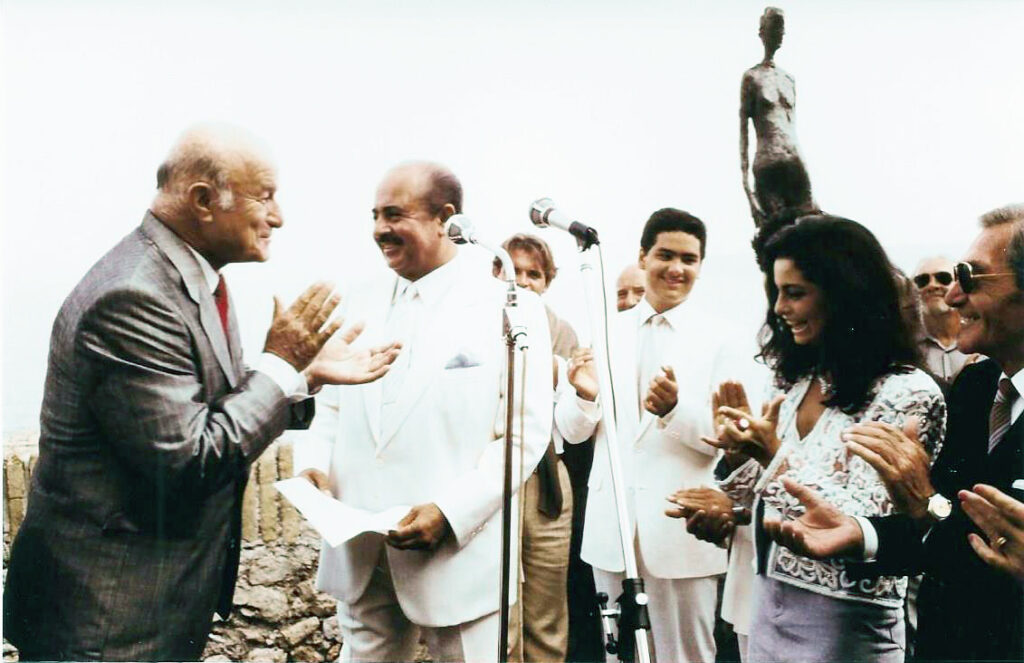 Adnan Khashoggi receiving the keys to the city in Antibes, France from the Mayor