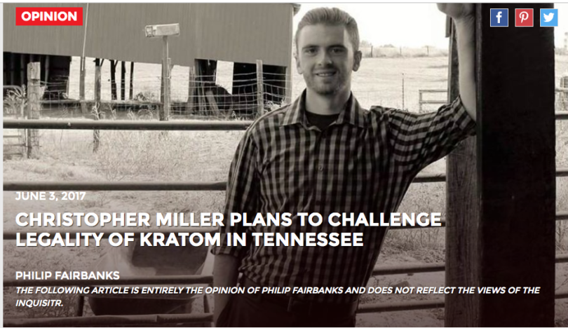 Christopher Miller Plans To Challenge Legality of Kratom in