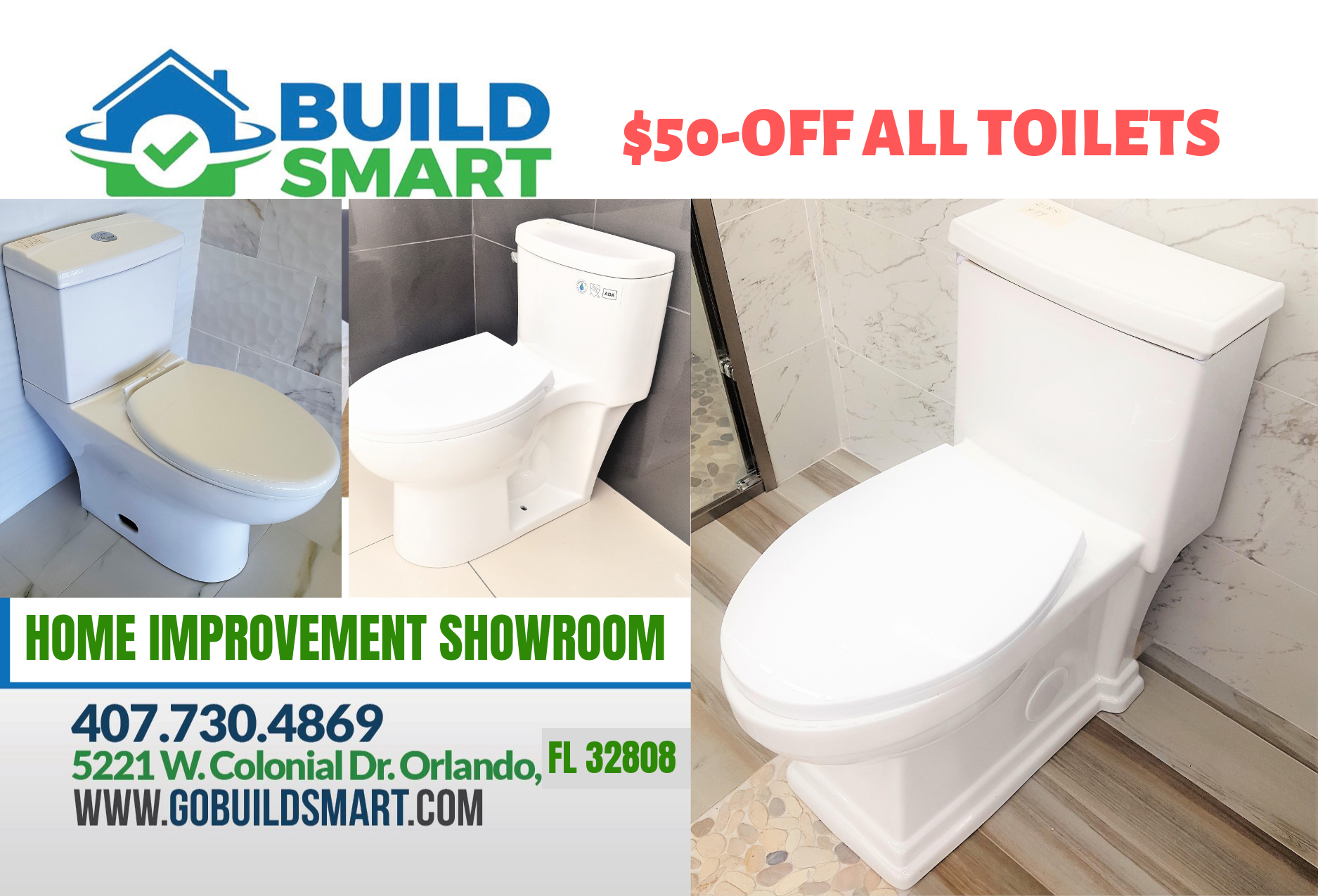 LABOR DAY WEEKEND SALE – $50OFF TOILETS