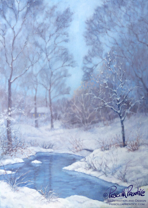 painting of a snowy yard with a pond