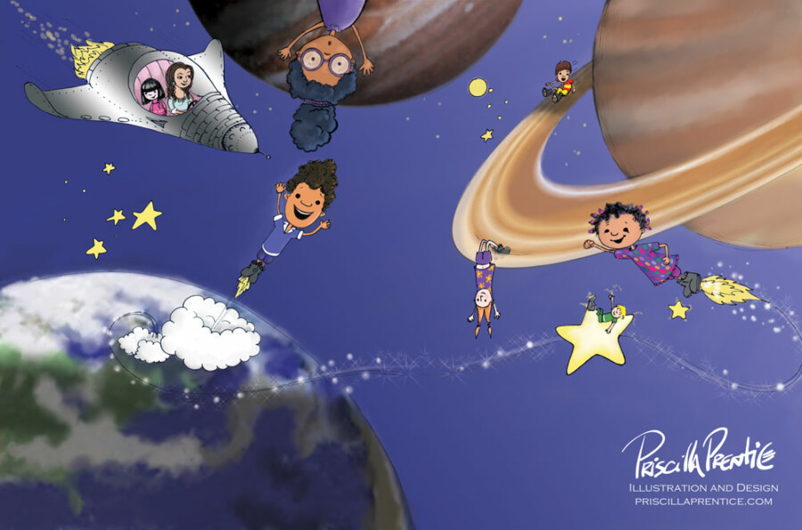 illustration of kids zooming in space for Teacher's Promise book