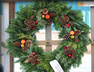 Live holiday wreathes and decor at Homestead Garden Center, Williamsburg, Va