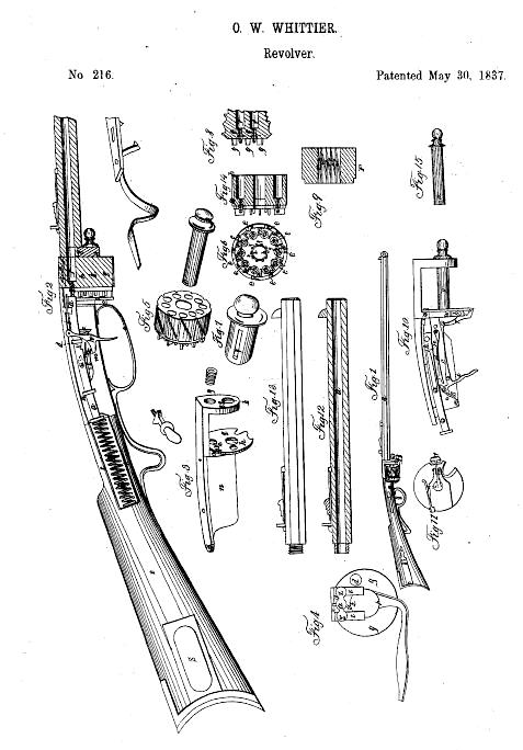 Whittier Revolving Rifle Patent Diagram