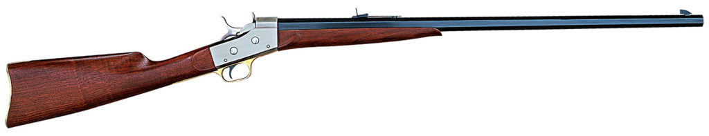 """A Pedersoli reproduction of a Remington rolling block """"Sporting"""" rifle."""