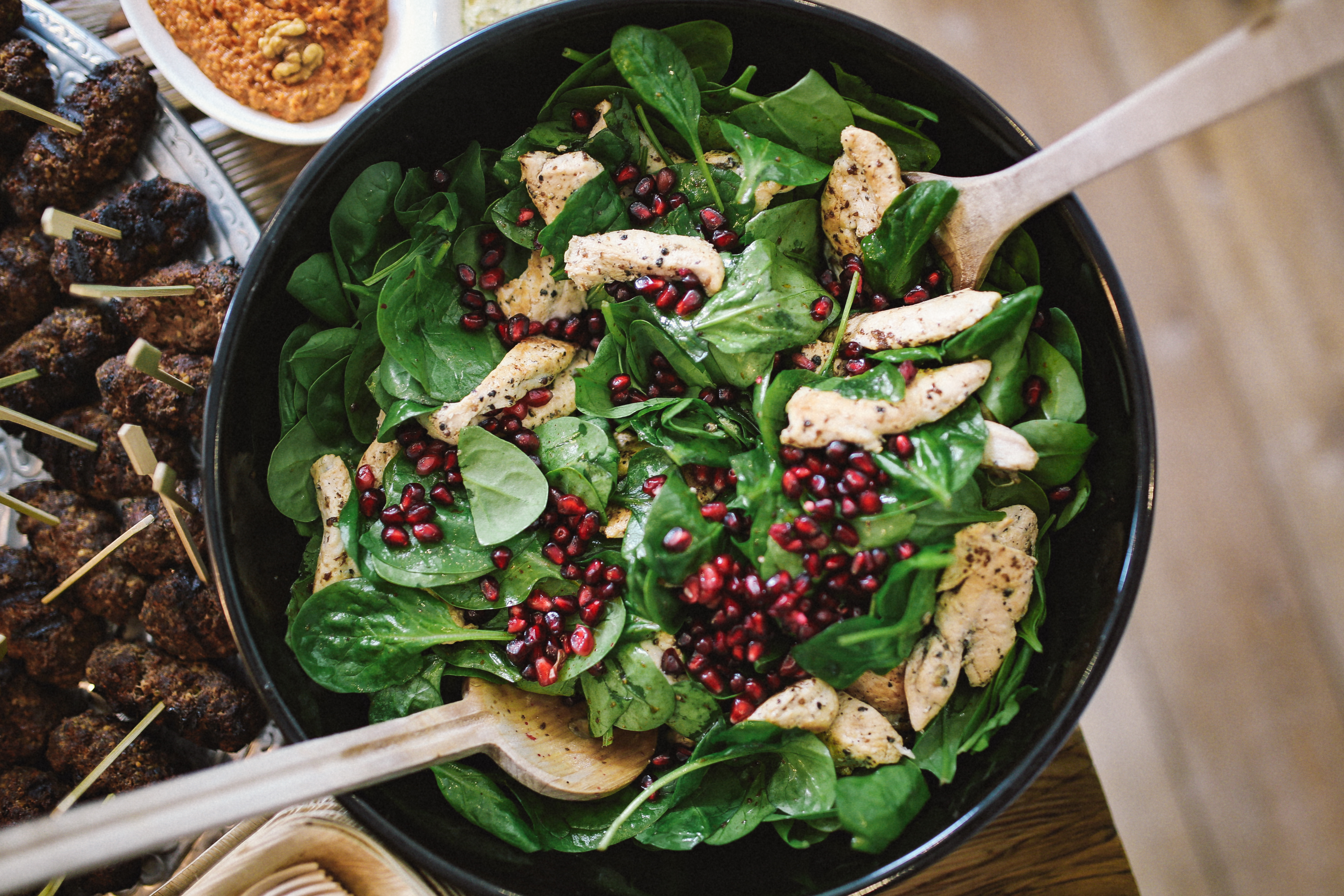 foodiesfeed.com_spinach-pomegranate-and-chicken-salad