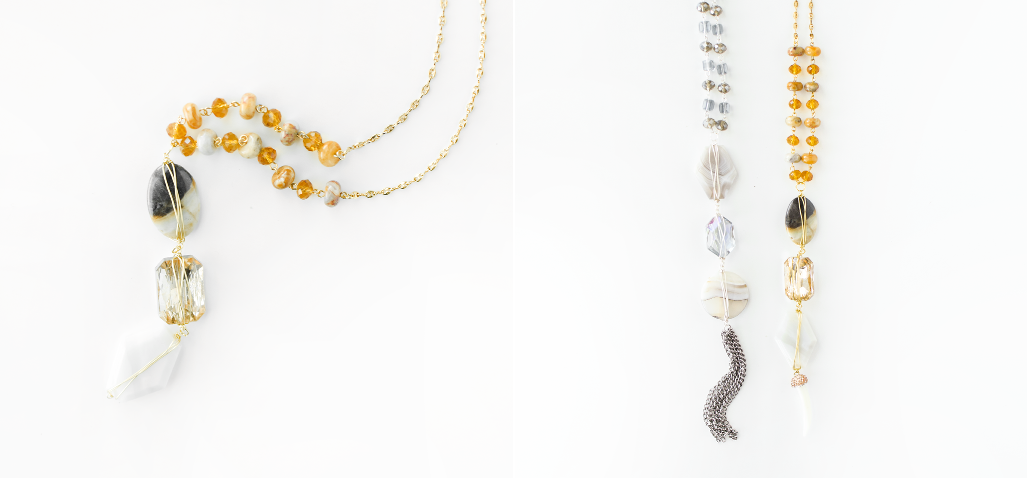 DIY Wired Stones Necklaces by Quiet Lion Creations