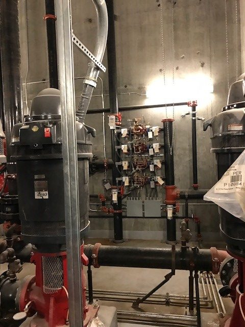 Fire pump control panel and water pipe