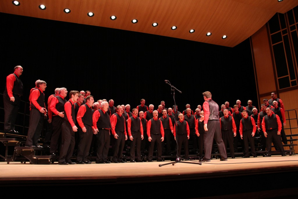 The Harmony Hawks Chorus performs on stage at the Concert Hall at Prairie High School April 28, 2013 during their annual spring show.