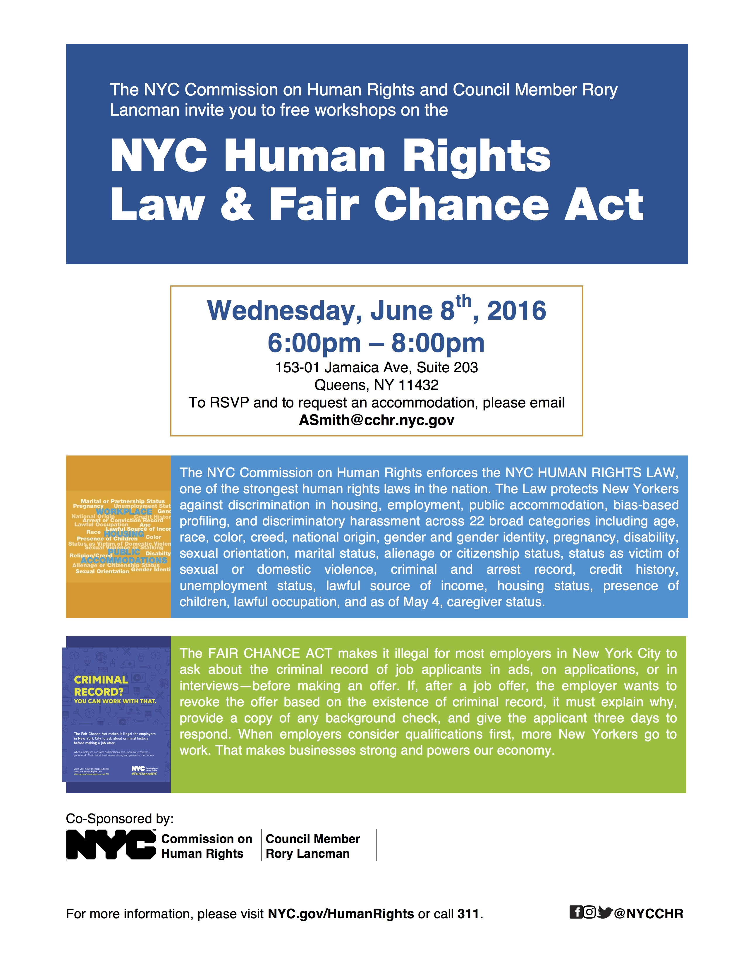 NYC Human Rights Law & Fair Chance Act – Jamaica 311