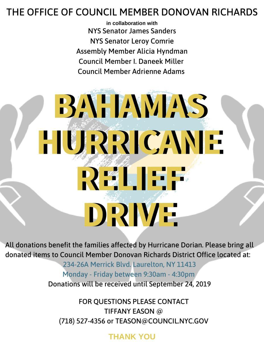 Bahamas Hurricane Relief Drive (Donations Accepted Until 9
