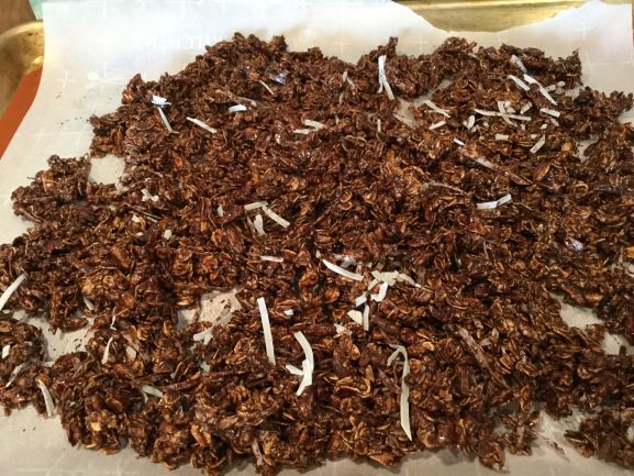 chocolate-granola-on-baking-sheet