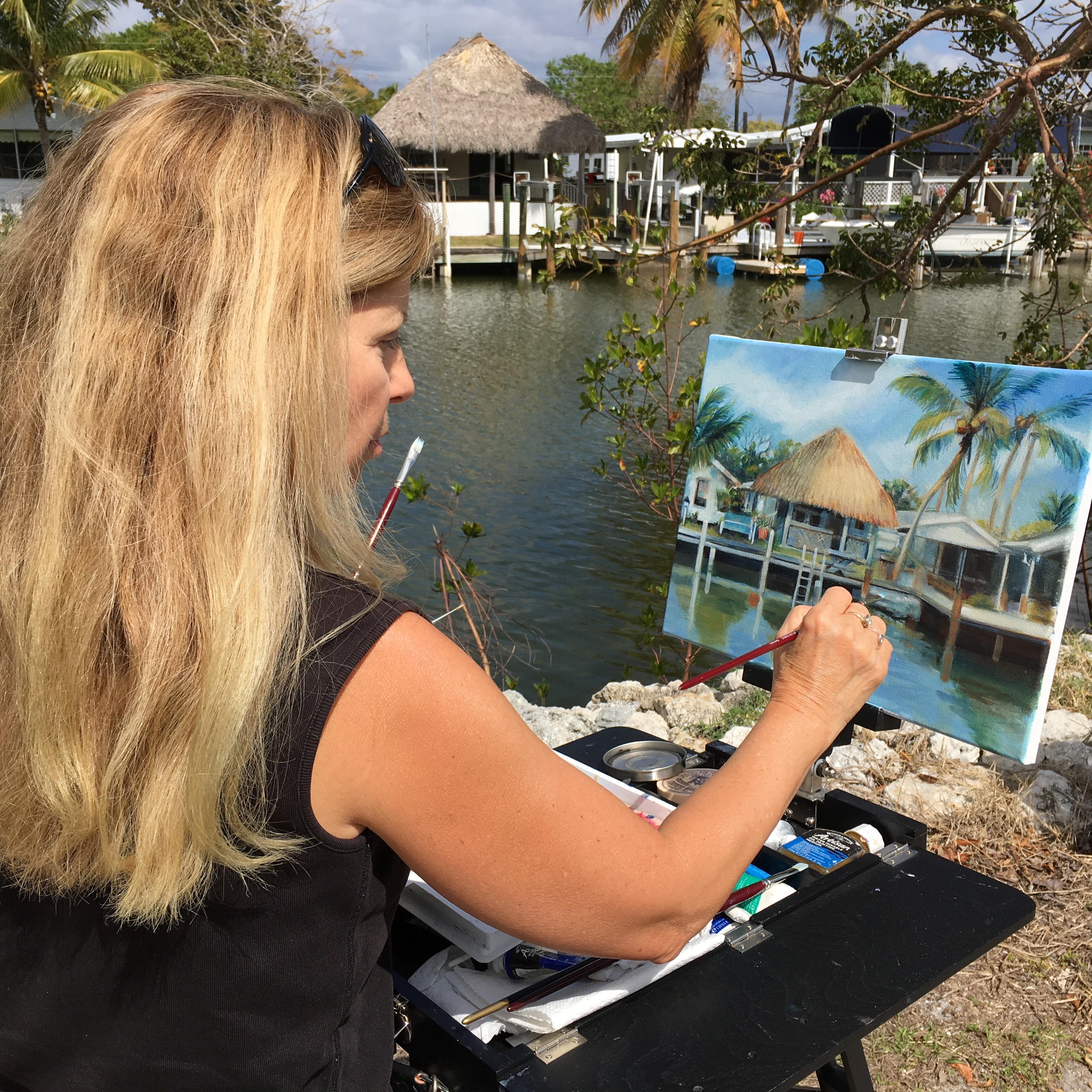 Plein air painting in Goodland, Florida.