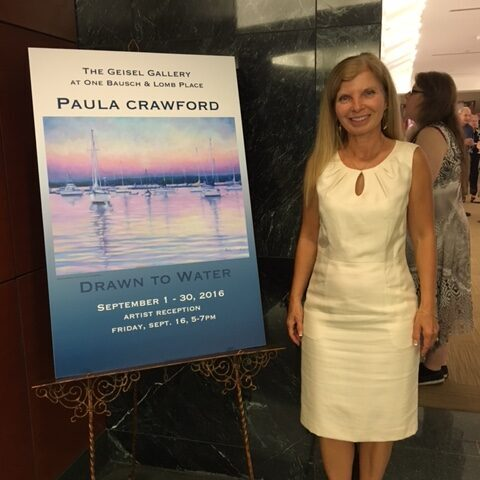 "Paula Crawford at her solo exhibit ""Drawn to Water"" at Giesel Gallery, Bausch and Lomb, Rochester, New York"
