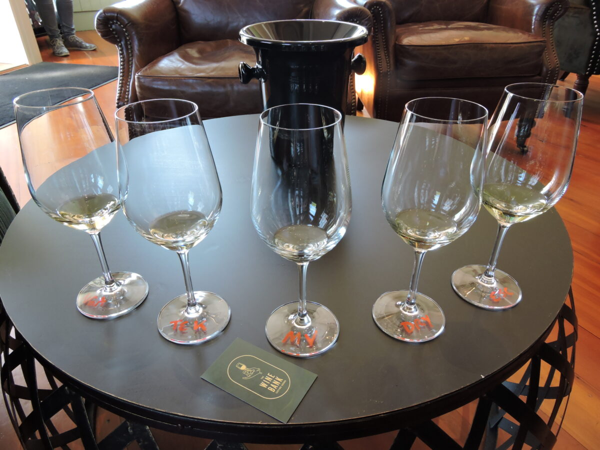 Tasting five chardonnays at the Wine Bank in Martinborough