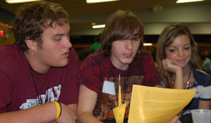 Seniors participate in an activity during Youth Leadership Day.