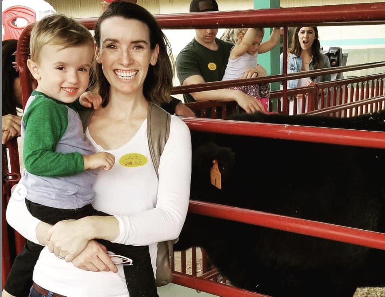 Mom & Child at Farm Petting Zoo