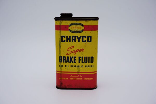Antique Chryco Super Brake Fluid, 1 imperial pint can.