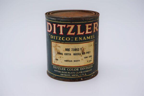 Antique Ditzler Ditzco Enamel paint Terra Cotta Russet Red Poly paint can.