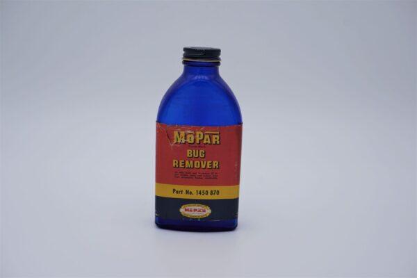 Antique Mopar Bug Remover blue glass bottle.