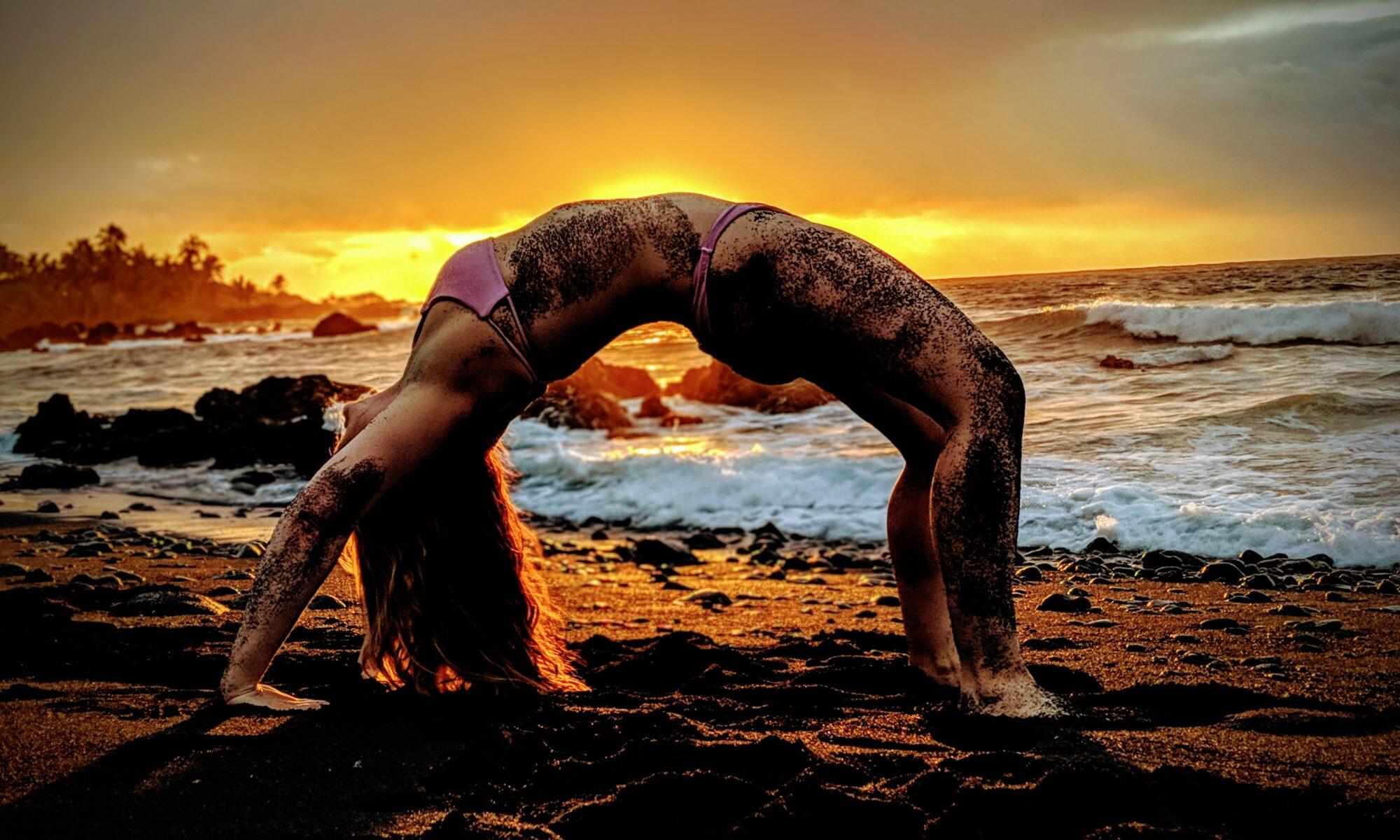 Beach yoga in Hana, Maui