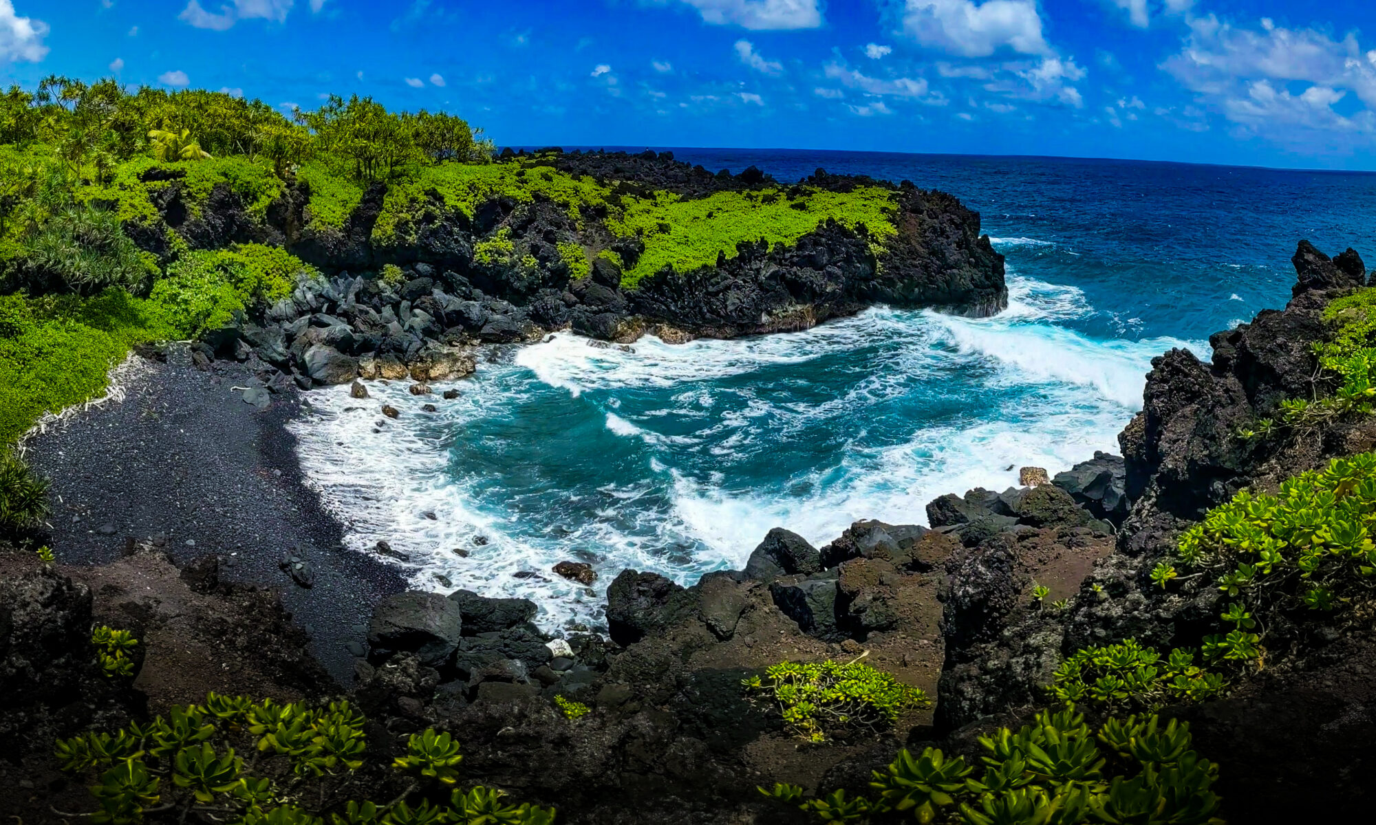 Waianapanapa State Park shore in Maui, Hawaii