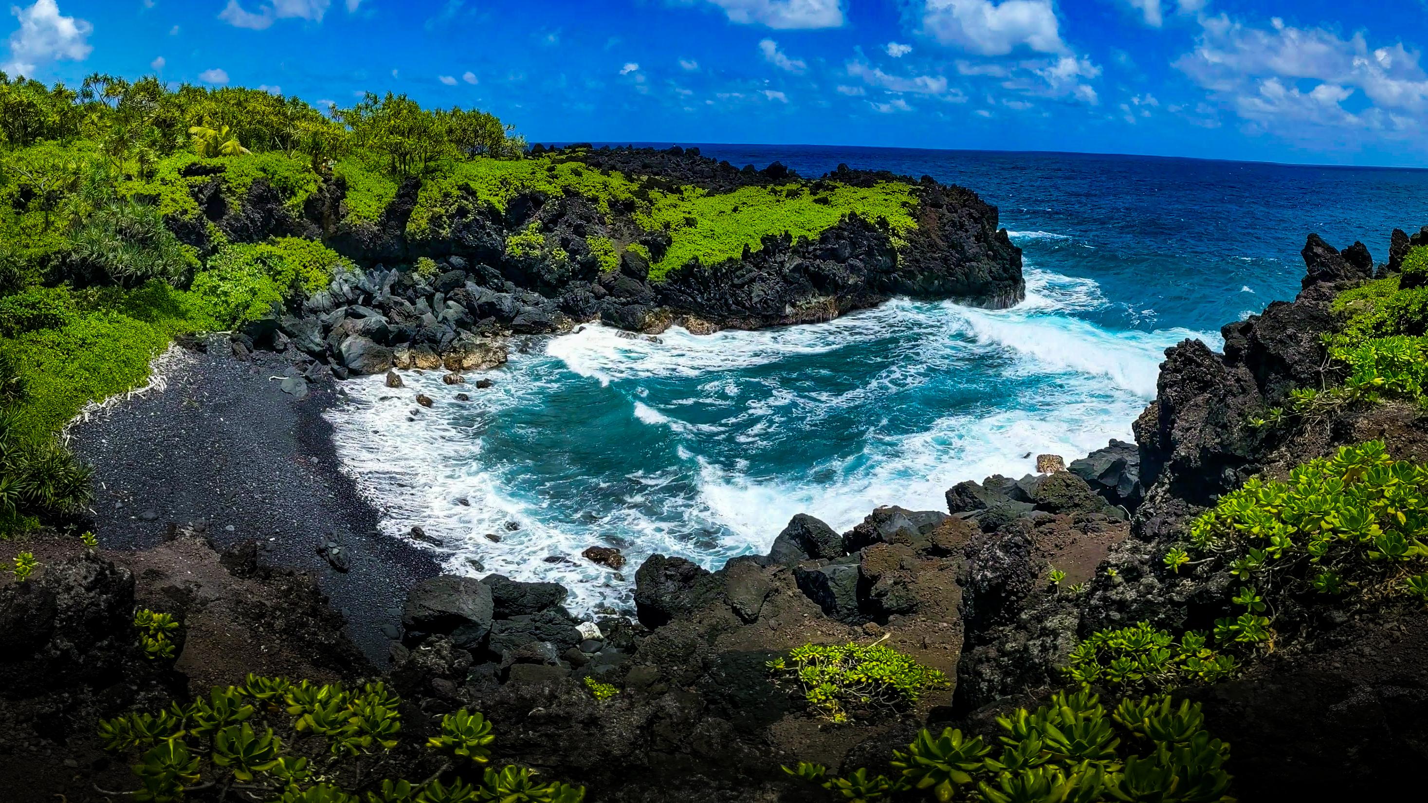 Waianapanapa State Park shore in Maui, Hawaii