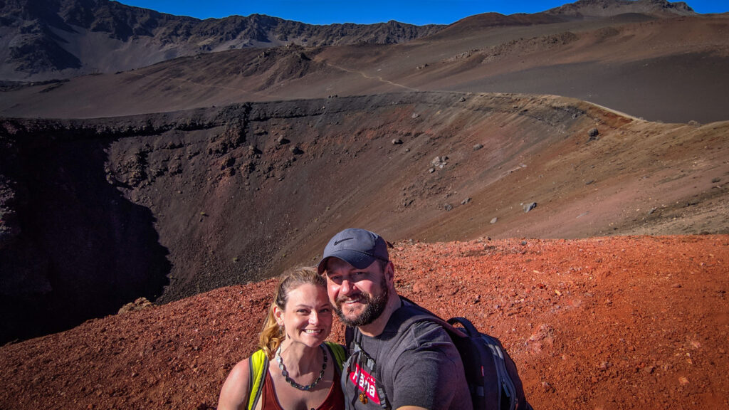 Kat and Andrew hiking in Haleakala National Park