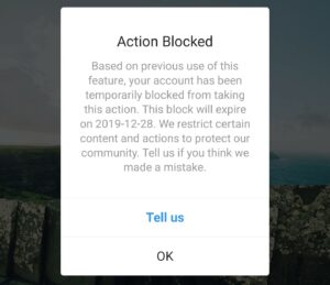 Action Blocked Based on previous use of this feature, your account has been temporarily blocked from taking this action.