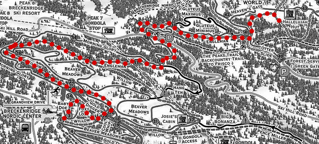 Map of snowshoeing trails at Breckenridge Nordic center showing dotted red line as our trail path.