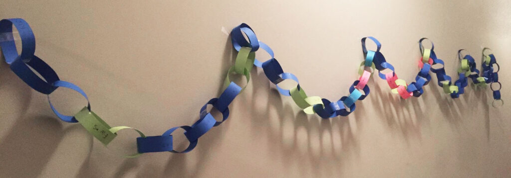A paper chain draped in five loops hanging on an apartment wall.
