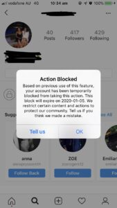 Action Blocked, Based on previous use of this feature, your account has been temporarily blocked from taking this action.