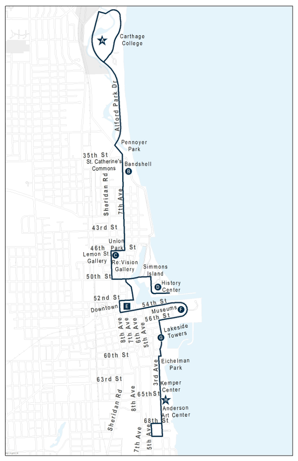 Kenosha Lakefront Trolley Route Map