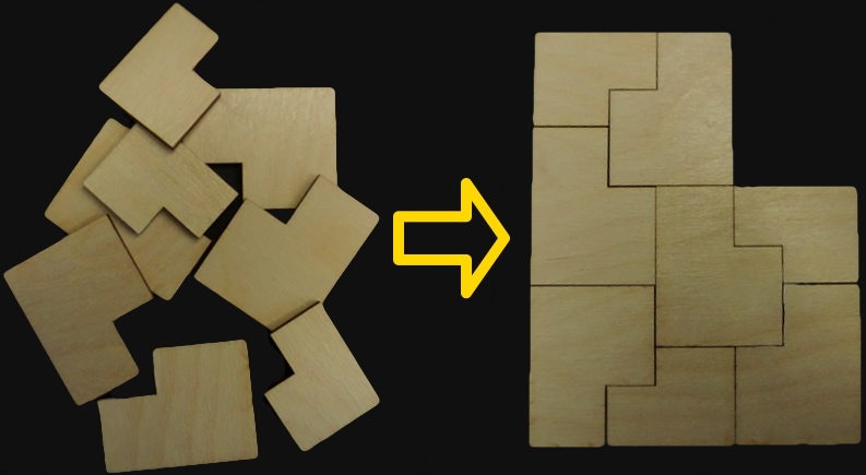 Golden b puzzle in pieces and then solved