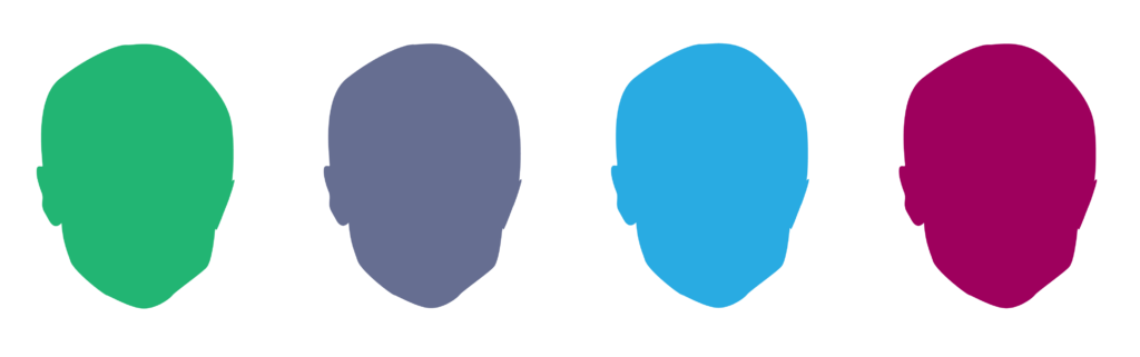 Four head shaped graphics in green, purple, blue, and fuscia.