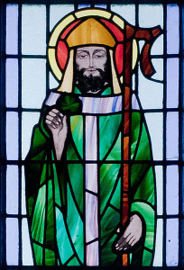 Saint Patrick depicted in a stained glass window at Saint Benin's Church, Ireland.